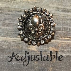 💍 Fleur de lis stretch adjustable fashion ring